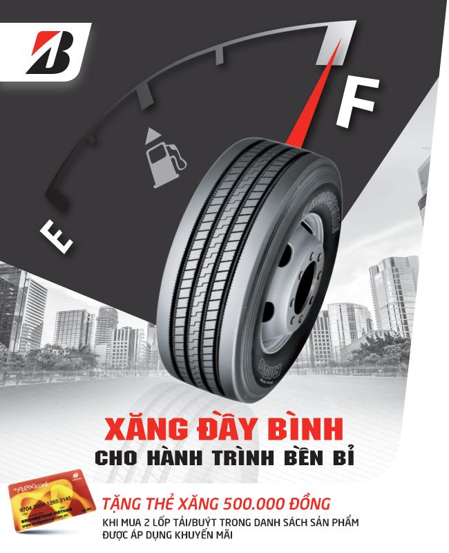 Khuyến mãi mua lốp xe Bridgestone tháng 8 XĂNG ĐẦY BÌNH CHO HÀNH TRÌNH BỀN BỈ