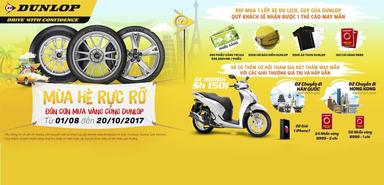 Khuyến mãi mua lốp xe Dunlop tặng quà tháng 8