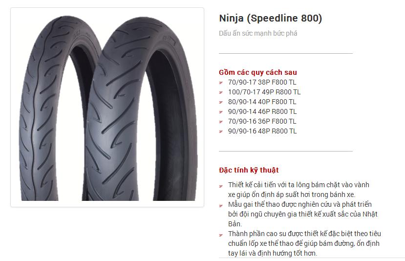 Lốp xe máy yokohama Ninja (Speedline 800)